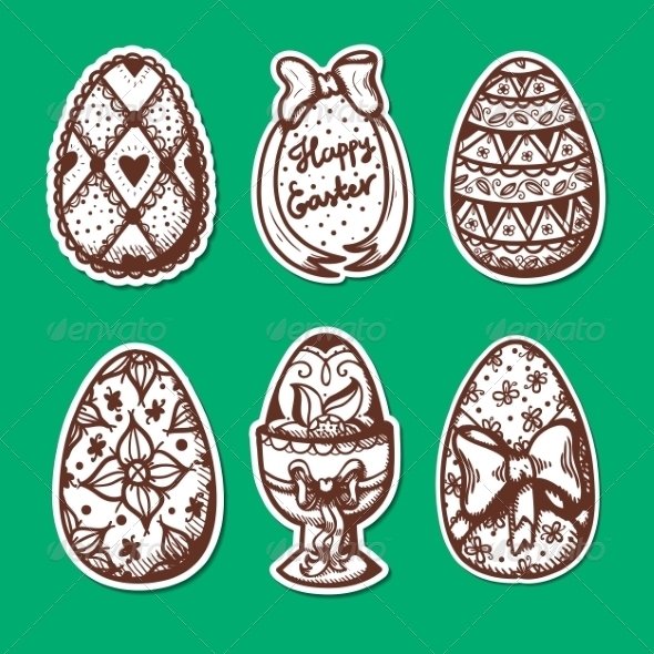 GraphicRiver Easter Objects Sticker Collection 7416952