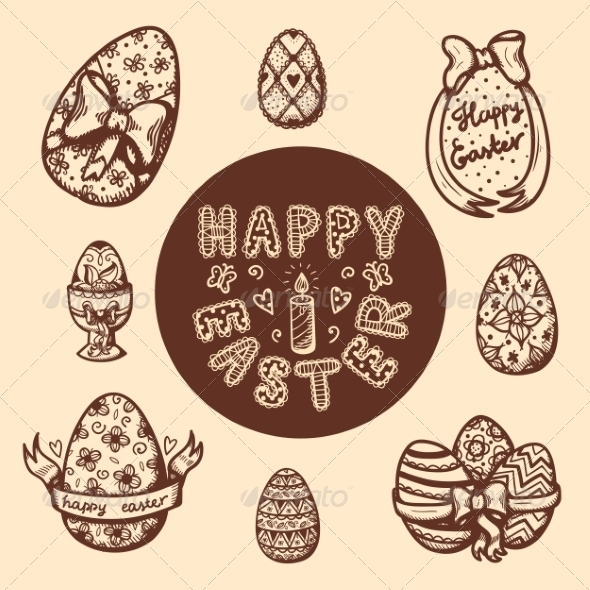 GraphicRiver Easter Objects Vintage Collection 7416974