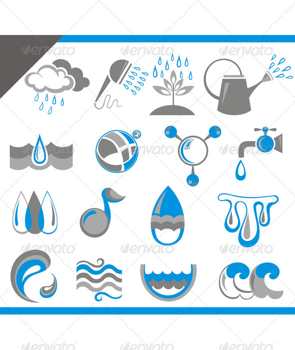GraphicRiver Set of Icons of Water for Design 7417300
