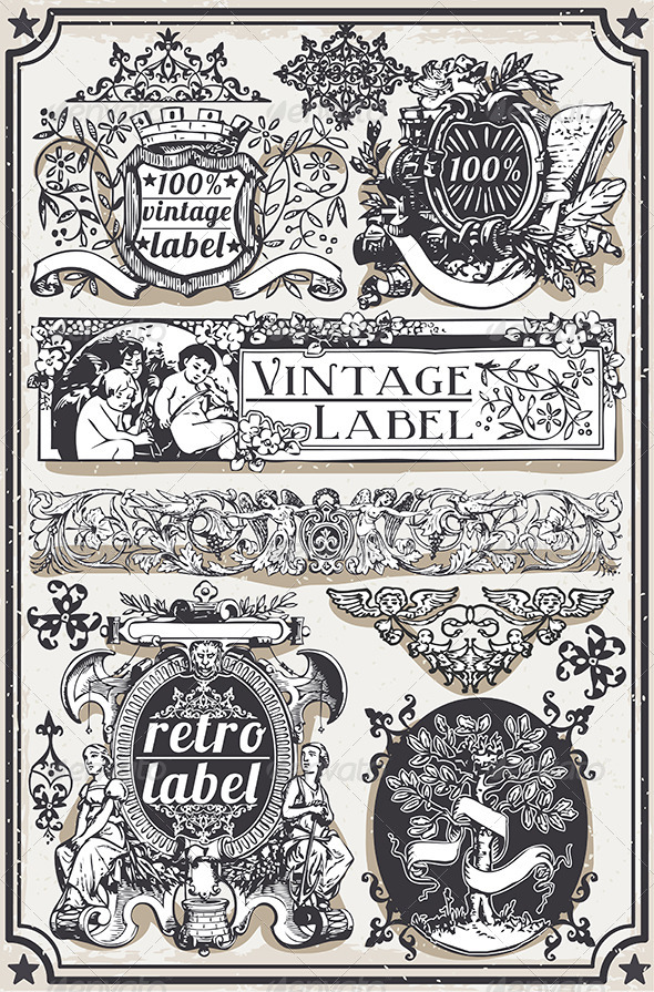 GraphicRiver Vintage Hand Drawn Graphic Banners and Labels 7417334