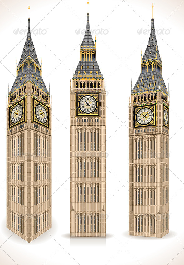 GraphicRiver Big Ben Tower Isolated on White 7417434