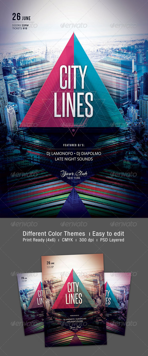 GraphicRiver City Lines Flyer 7417440