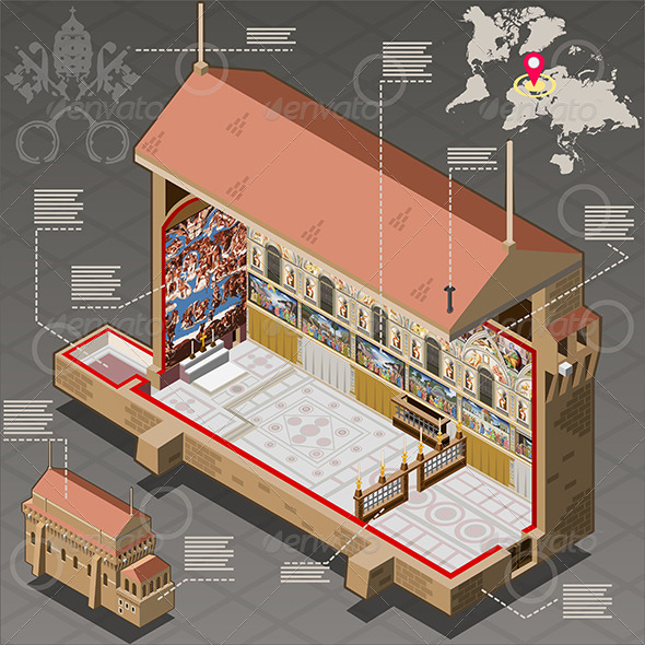 GraphicRiver Isometric Infographic of Sistina Chapel in Vatican 7417509