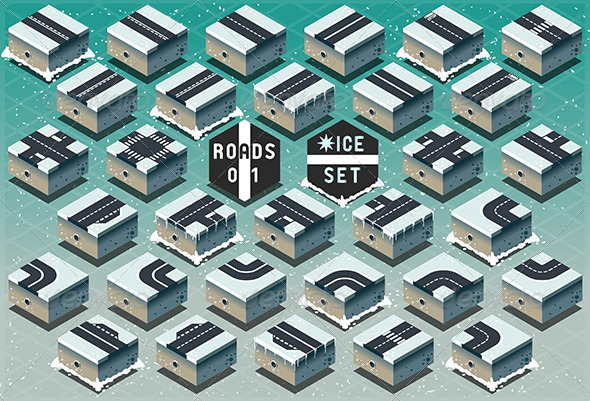 GraphicRiver Isometric Roads on Frozen Terrain 7417519