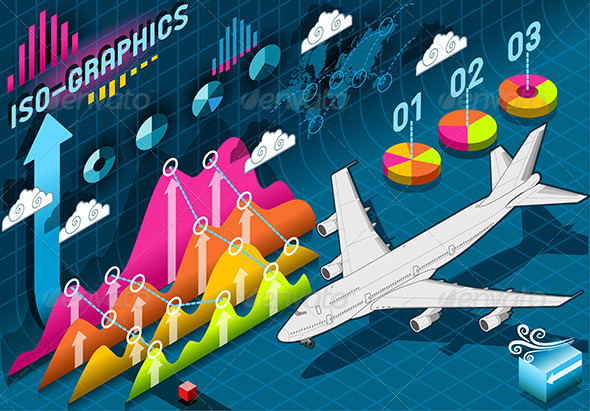 GraphicRiver Isometric Infographic Set Elements with Airplane 7417643