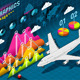 Isometric Infographic Set Elements with Airplane - GraphicRiver Item for Sale