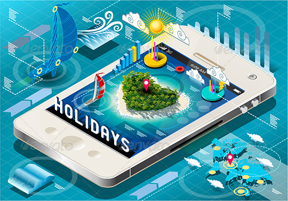 GraphicRiver Isometric Holidays Infographic on Mobile Phone 7417652