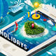 Isometric Holidays Infographic on Mobile Phone - GraphicRiver Item for Sale