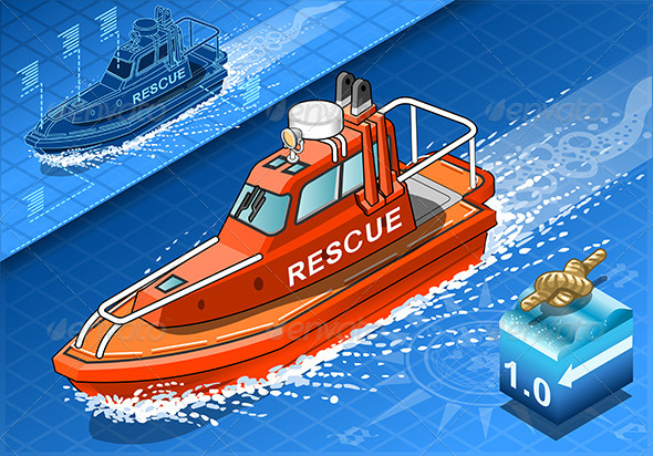 GraphicRiver Isometric Rescue Boat in Navigation in Front View 7417725