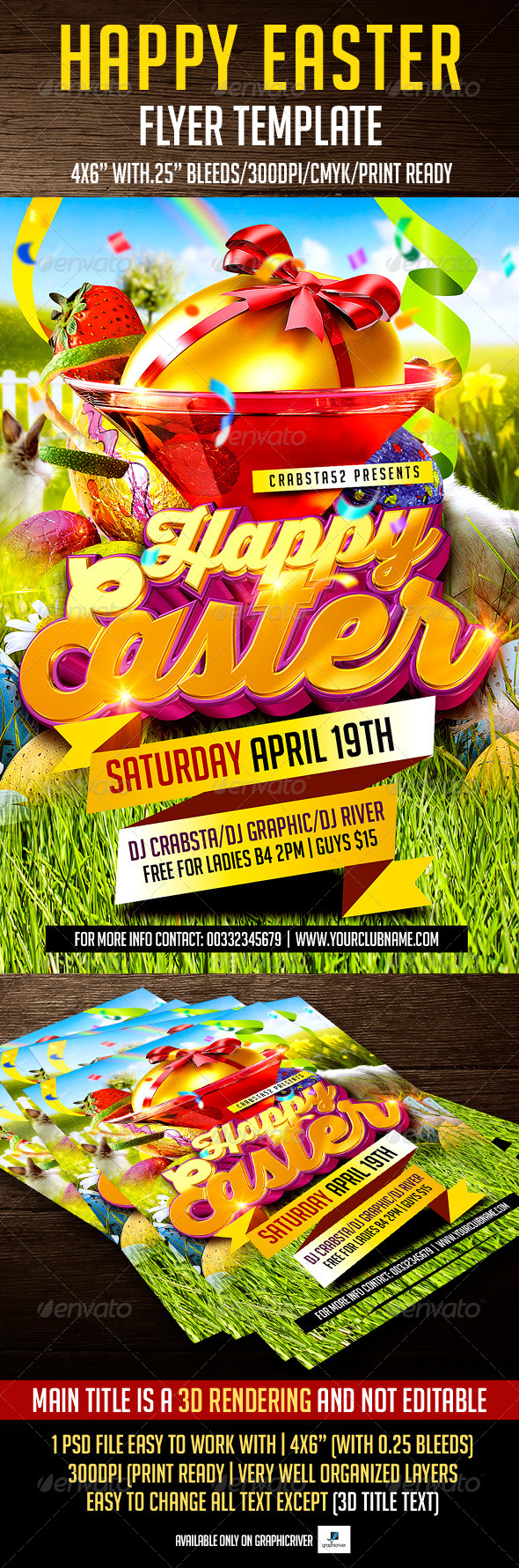 GraphicRiver Happy Easter Flyer Template 7403629