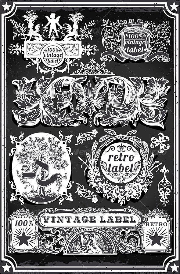 GraphicRiver Vintage Hand Drawn Blackboard Banners and Labels 7418174