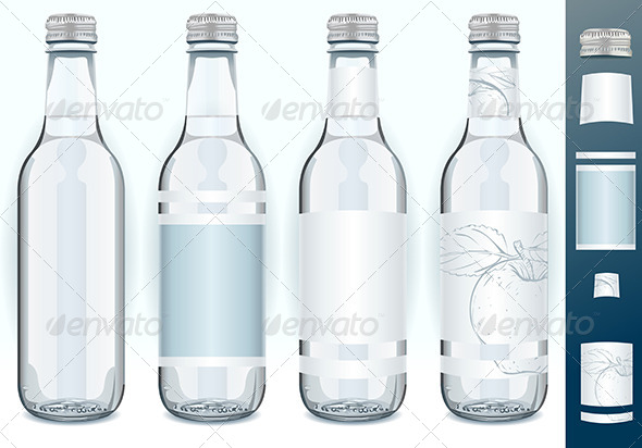 GraphicRiver Four Glass Bottles with Generic Labels 7418199