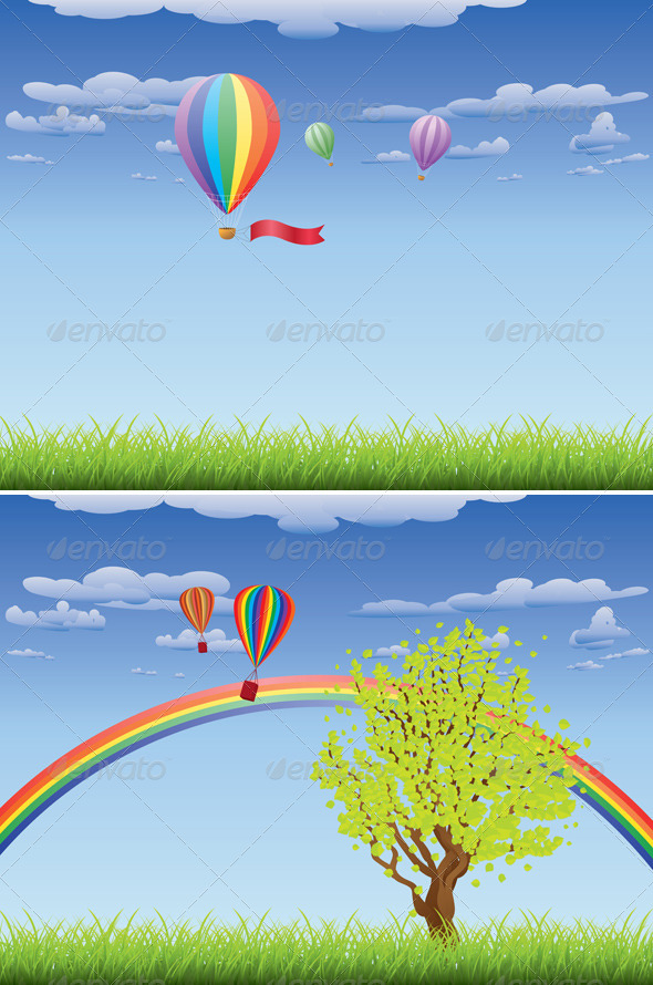 GraphicRiver Hot Air Balloons Over Grass Field 7418523