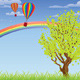 Hot Air Balloons Over Grass Field   - GraphicRiver Item for Sale
