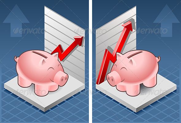 GraphicRiver Isometric Piggy Bank Box with Red Arrow Up 7419205