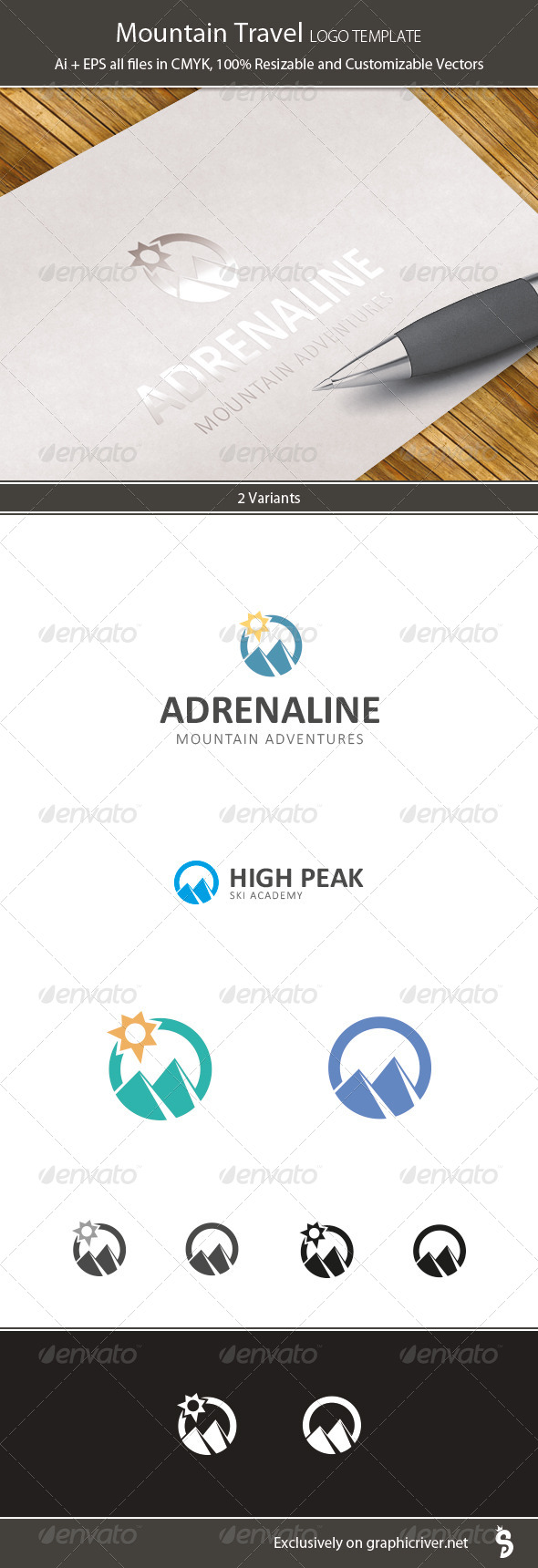 GraphicRiver Mountain Travel Logo Template 7419224