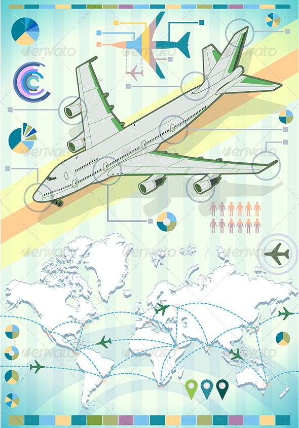 GraphicRiver Infographic Set Elements with Airplane 7419392
