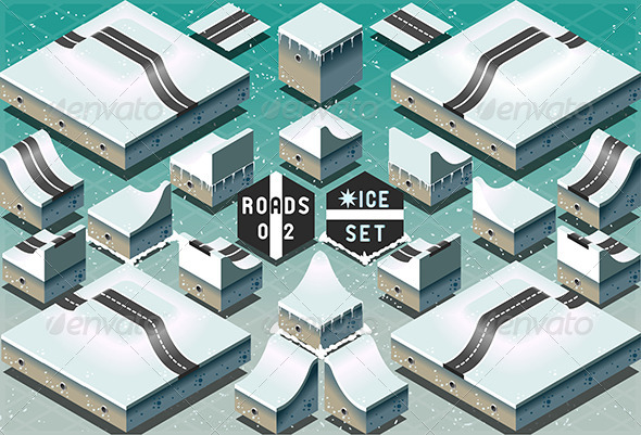 GraphicRiver Isometric Roads on Two Levels Frozen Terrain 7419478