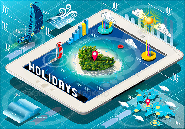 GraphicRiver Isometric Holidays Infographic on Mobile Tablet 7419497