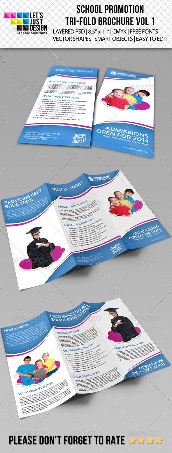 GraphicRiver School Promotion Tri-Fold Brochure Vol 1 7420292