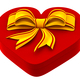 heart shaped box with golden bow for gift - PhotoDune Item for Sale