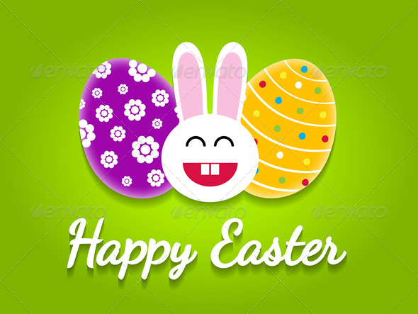 GraphicRiver Happy Easter Card with Easter Eggs and Bunny 7420812