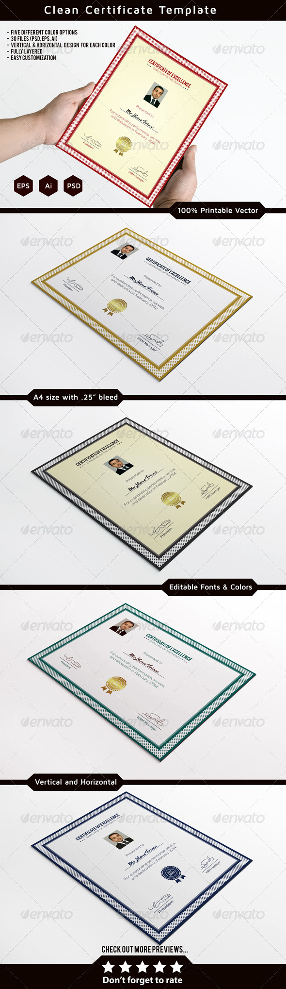 GraphicRiver Clean Certificate Template 7383332