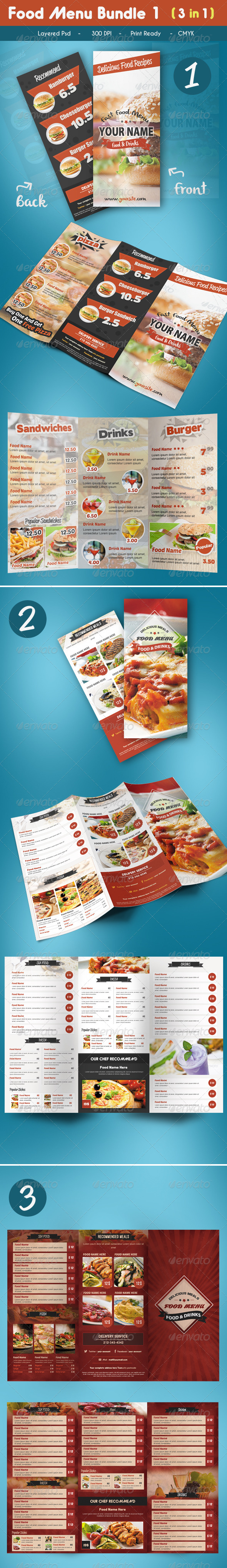GraphicRiver Trifold Food Menu Bundle 1 7412687