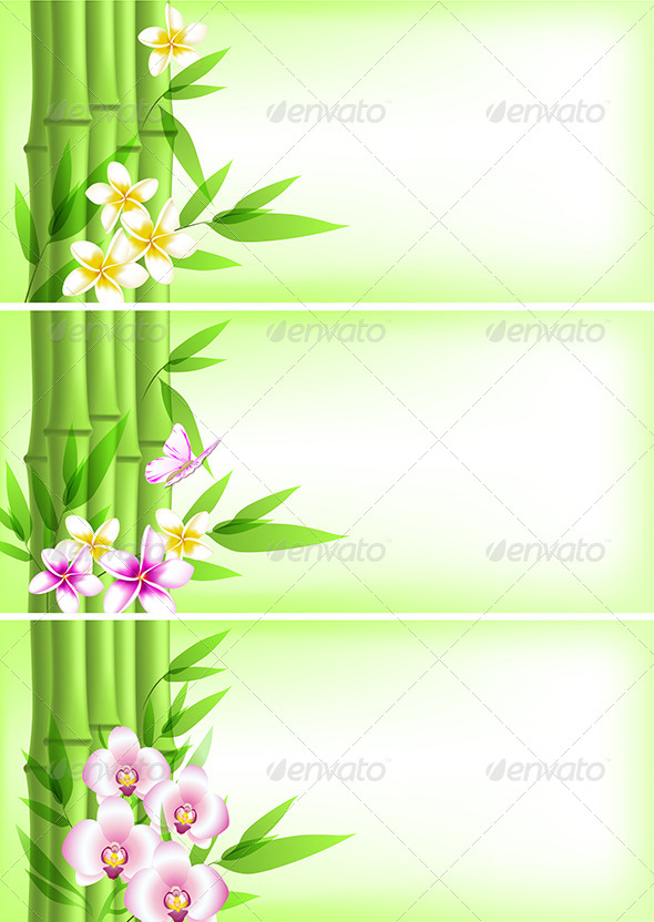 GraphicRiver Banners with Green Bamboo and Flowers 7421023