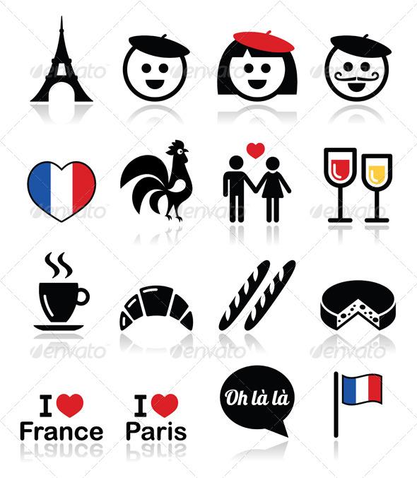 GraphicRiver France I Love Paris Vector Icons Set 7421048