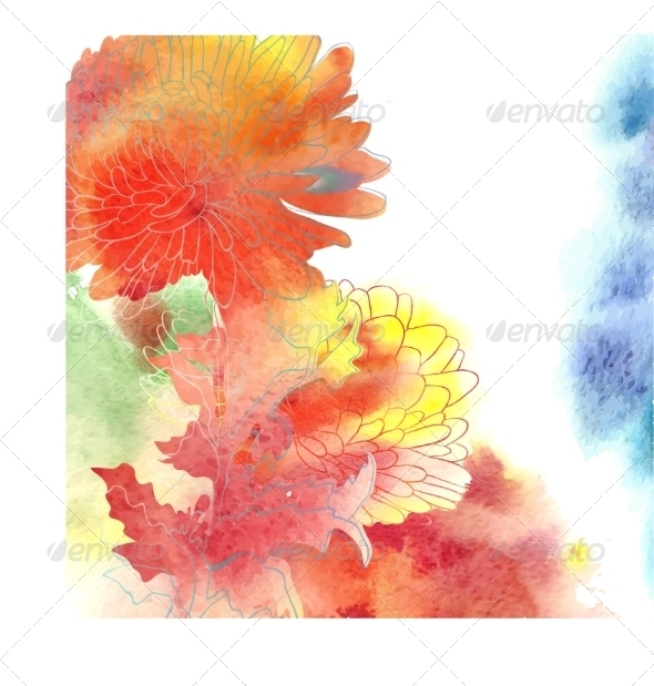 GraphicRiver Watercolor Background With Chrysanthemum 7421079