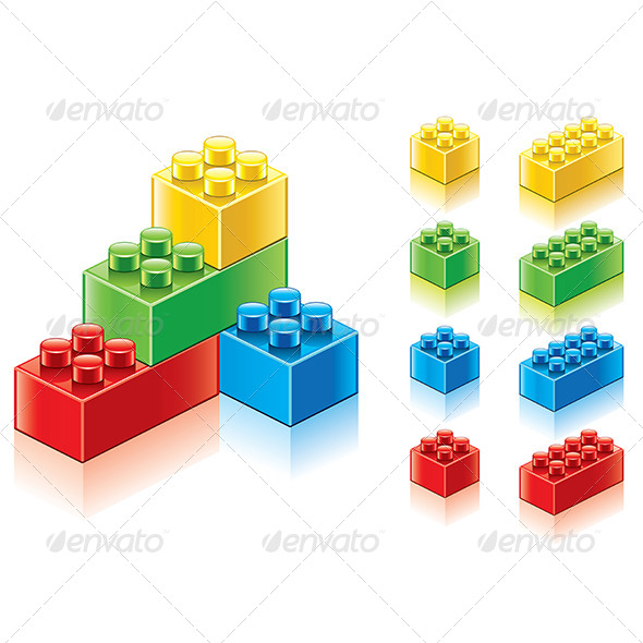 GraphicRiver Colourful Plastic Blocks Vector Collection 7421153