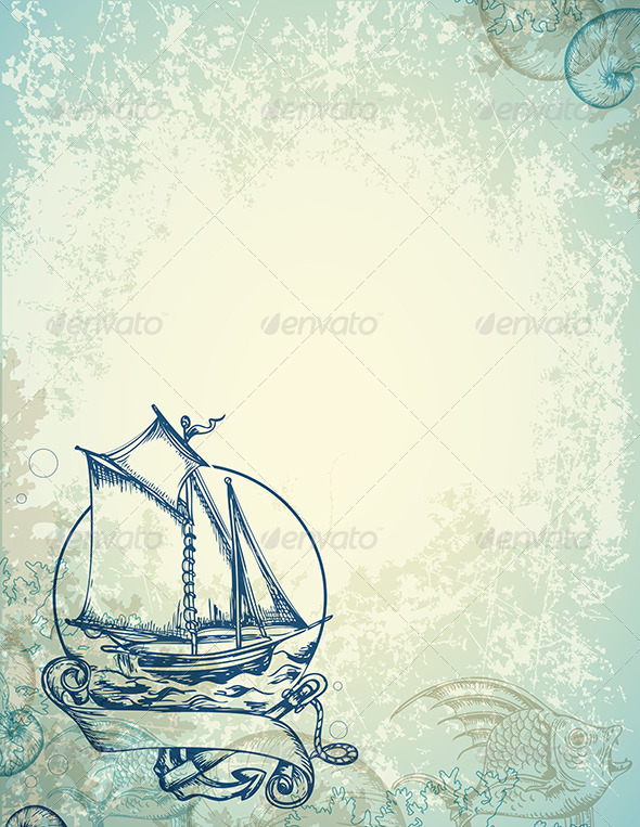 GraphicRiver Vintage Marine Background with Ship 7421671