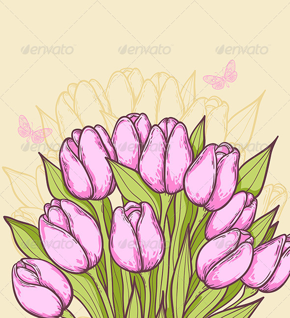 GraphicRiver Pink Tulips and Butterflies 7422154