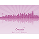 Seattle Skyline in Purple Radiant Orchid - GraphicRiver Item for Sale