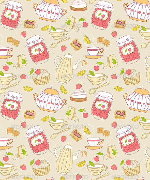 GraphicRiver Seamless Pattern with Tea and Fruits 7422395