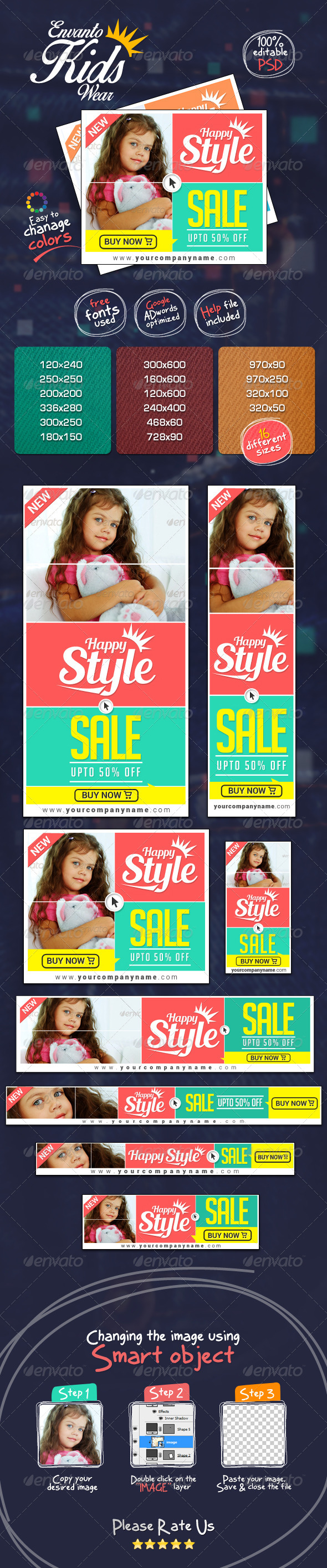 GraphicRiver Kids Clothing Banner Set 7406060