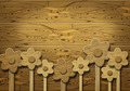 Wooden flowers over wooden background - PhotoDune Item for Sale