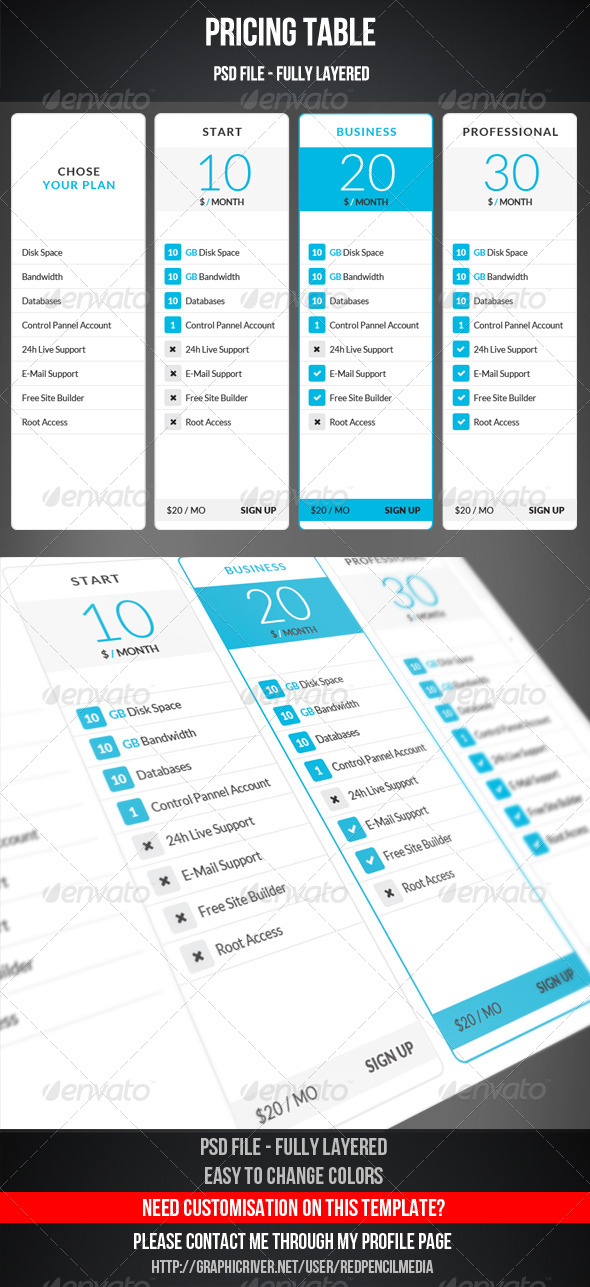 GraphicRiver Pricing Table 7422931
