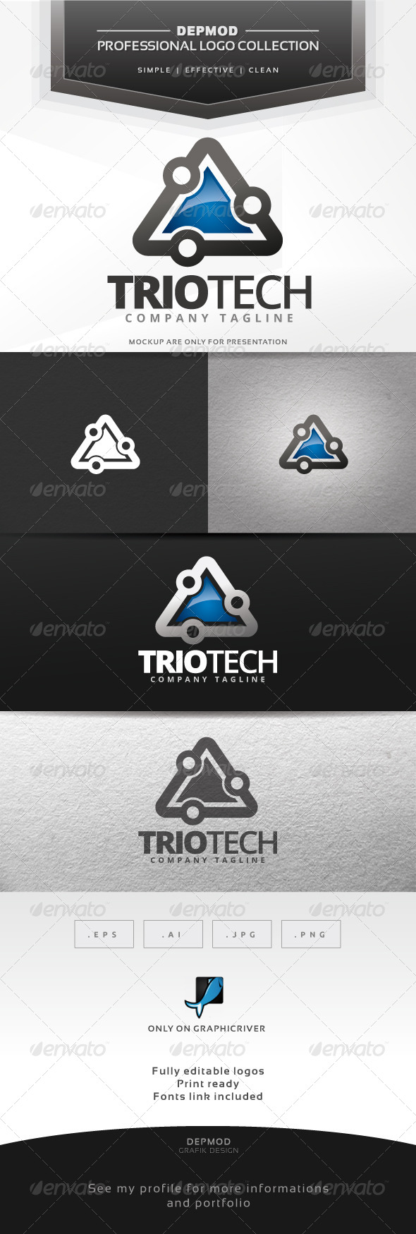 GraphicRiver Trio Tech Logo 7423092
