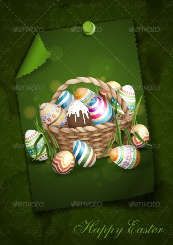 GraphicRiver Easter Background With A Basket 7423096