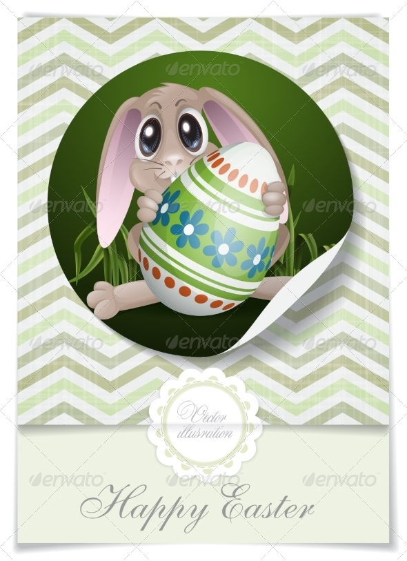 GraphicRiver Easter Bunny With Colorful Egg 7423113