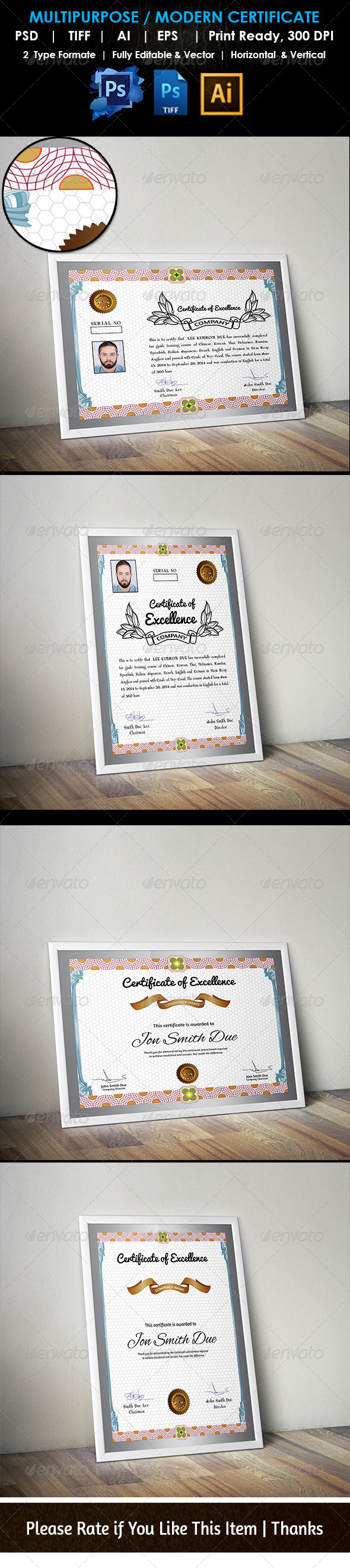 GraphicRiver Multipurpose Training Unique Certificate PSD AIl 7423929