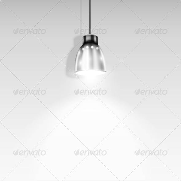 GraphicRiver Single Spotlight Illuminating White Wall 7424050