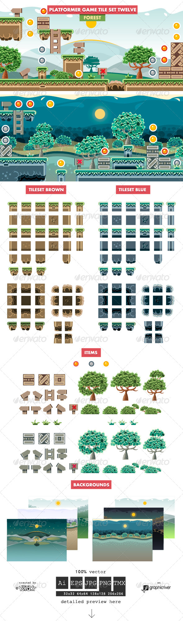 GraphicRiver Platformer Game Tile Set Twelve 7424304