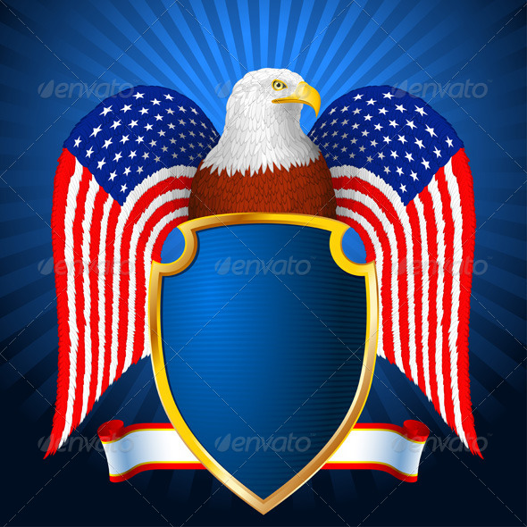 GraphicRiver American Eagle Flag Wing Shield 7424390