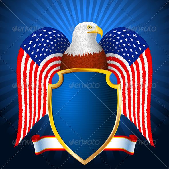 GraphicRiver American Eagle Flag Wing Shield 7424390