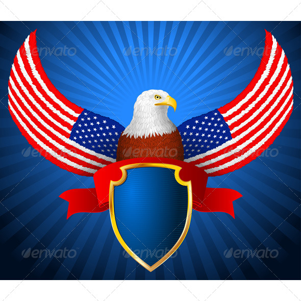 GraphicRiver American Eagle Flag Wing Shield Ribbon 7424391