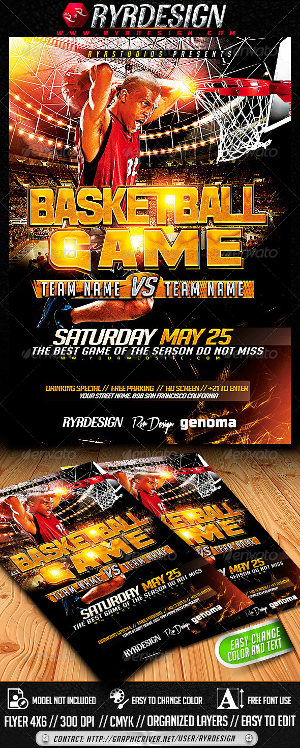 GraphicRiver Basketball Playoffs Flyer PSD 7424815