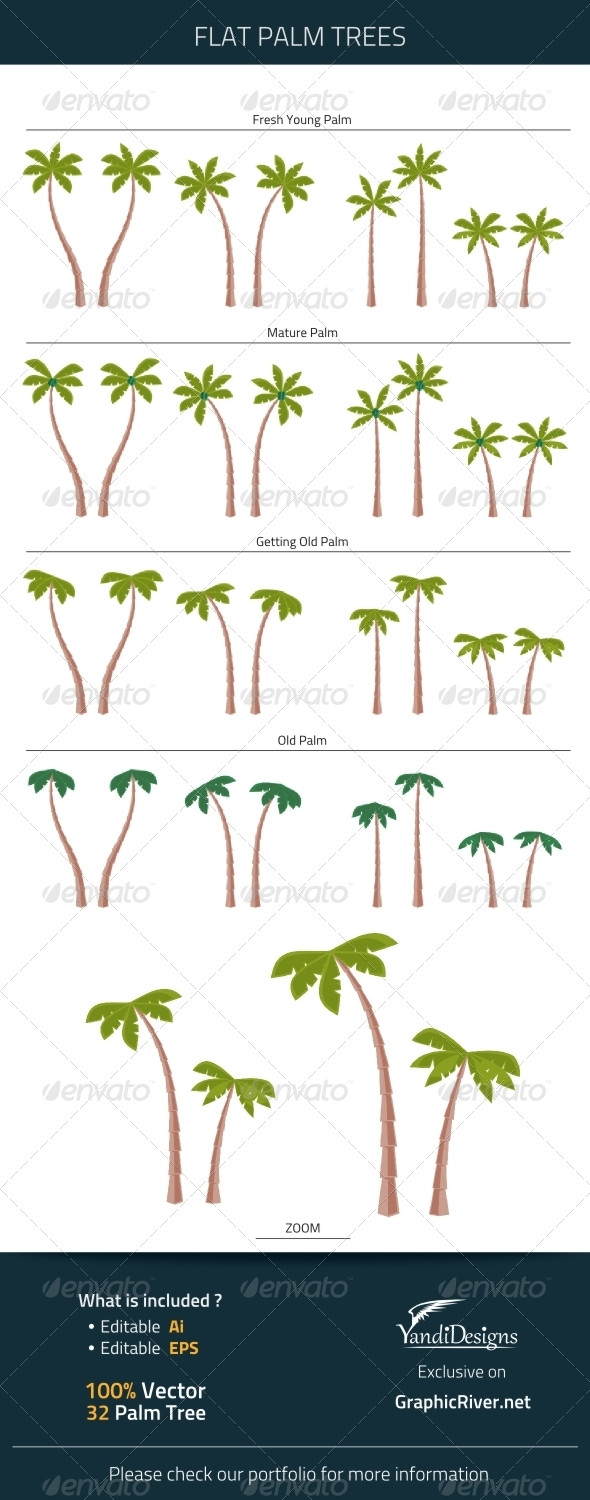 GraphicRiver Flat Palm Trees 7426468